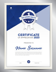 certificate template vector illustration, diploma layout in a4 size, business flyer design, advertisement, printing, achievement, Appreciation, corporate event, blue polygon background