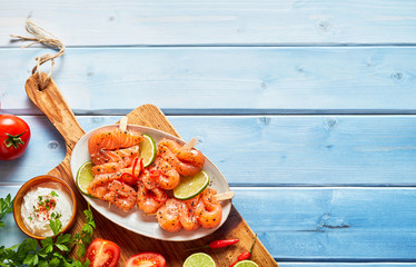 Plate of fresh smoked salmon skewers