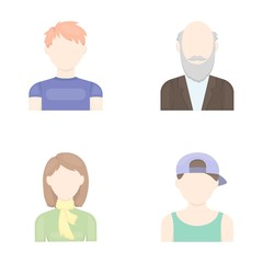 Boy in a cap, redheaded teenager, grandfather with a beard, a woman.Avatar set collection icons in cartoon style vector symbol stock illustration web.