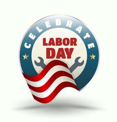 Celebrate Labor day badge.