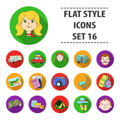 Family holiday set icons in flat style. Big collection of family holiday vector symbol stock illustration