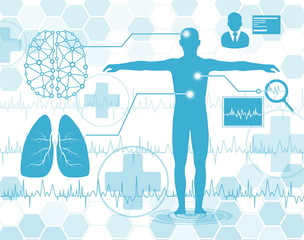 technology and science concept,medical science in future,diagnose x-ray brain lung and pulse