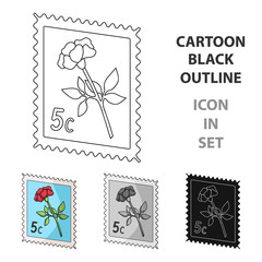 Postage Stamp.Mail and postman single icon in cartoon style vector symbol stock illustration web.