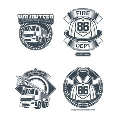 Vintage firefighting labels set with fireman truck and rescue equipment