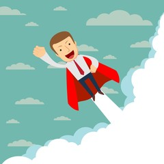 Superhero super successful businessman flying in the sky. Success growth business concept. Stock flat vector illustration.