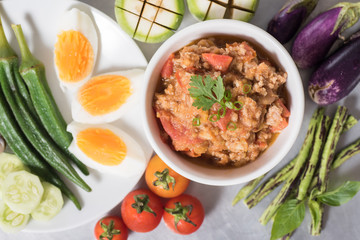 Thai Northern food (Nam Prik Ong) with vegetables and boiled egg,spicy tomato with pork,red chili dip,NorthernThai dipping sauce