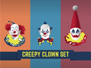 Set of 3 creepy scary clown man heads on dull background color, retro style, Halloween concept.