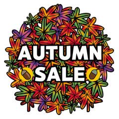 秋のイメージ背景|丸く描いたモミジ|紅葉、もみじ|バックグラウンド|Autumn Sale|オータムセール|バーゲンセール 販促用ポスター、ツールのフォーマット