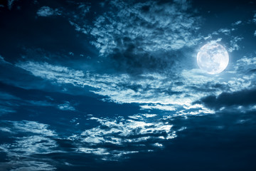 Papiers peints Nuit Beautiful night sky with dark cloudy. Some clouds overshadow the full moon.