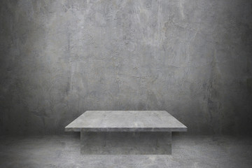 Wall Mural - one cement table on concrete wall and floor for pattern and design