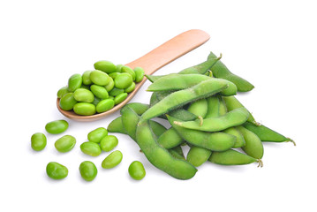 green edamame or soybean beans isolated on white background