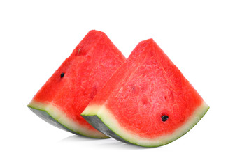 two slice of fresh watermelon isolated on white background
