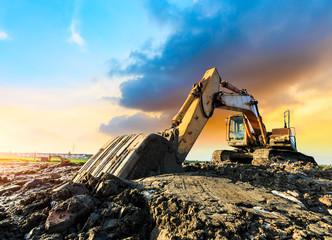 excavator in construction site