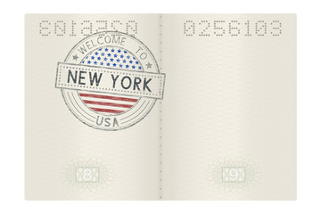 Passport pages with Welcome to New York stamp. Tourist colored sign