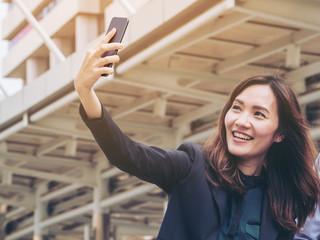 Business woman enjoy using smartphone