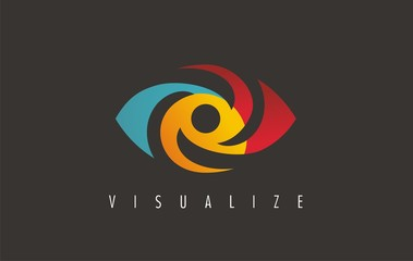 Visual media related logo, symbol, icon and sign. Vector of eye. Eye logo design. Media sign. Visual symbol.