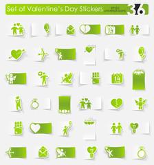 Set of Valentine's Day stickers