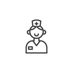 Nurse line icon, outline vector sign, linear style pictogram isolated on white. Symbol, logo illustration. Editable stroke