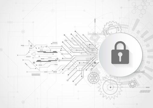 Abstract security digital technology. Protection concept background. Vector Illustration
