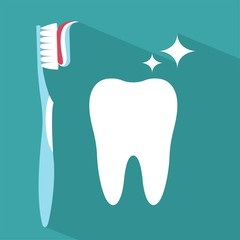 Tooth icon with toothbrush . Flat design style with long shadow. Tooth silhouette. Simple icon. Modern flat icon in stylish colors. Web site page and mobile app design element.