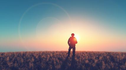 Man look on the sun
