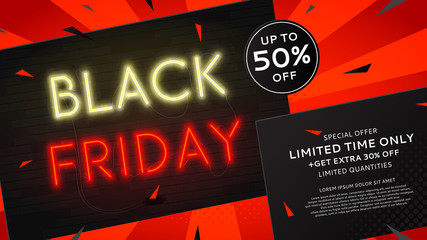 Black Friday sale web banner with neon text. Modern neon yellow and red billboard on brick wall. Concept of advertising for seasonal offer with glowing text.