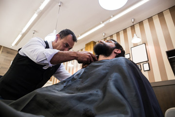 Stylist in process of trimming beard of young customer using machine.
