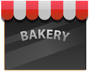 Bakery or bakeshop window with canopy vector image
