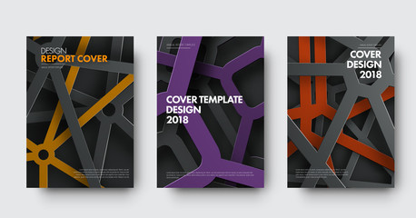 Wall Mural - Template of covers in modern style with intersecting lines and colored elements in spiderweb