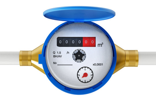 Water meter isolated on white background. 3D illustration