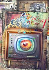 Wall Murals Imagination Big brother. Graffiti e collage con televisore fantascientifico e steampunk