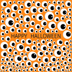 Eyes frame. Eyeball apple set. Happy Halloween baby card. Spooky orange funny background. Flat design.
