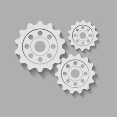 Gears on a gray background. Vector illustration.