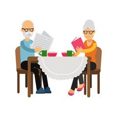 Senior couple characters sitting near the table, drinking tea and reading colorful character vector Illustration
