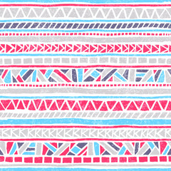 Seamless striped pattern. Ethnic and tribal motifs. Vintage print, grunge texture.Simple ornament. Handmade. White, gray, pink and blue colors.
