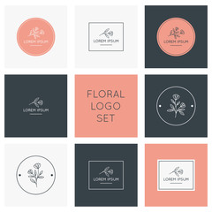 Floral logo collection. Logos, badges, emblems, logotypes design.