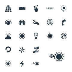 Vector Illustration Set Of Simple Green Icons. Elements Innovation, Sunglow, Barn And Other Synonyms Day-Star, Plant And Sea.