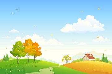 Cartoon rural fall landscape