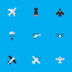 Vector Illustration Set Of Simple Plane Icons. Elements Craft, Airplane, Catapults And Other Synonyms Helicopter, Craft And Plane.