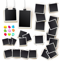 Set of square vector photo frames on sticky tape, pins and rivets. Template photo design. Vector illustration. Isolated on white background