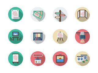 Art gallery elements flat round vector icons set