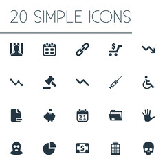 Vector Illustration Set Of Simple Situation Icons. Elements Handicapped Man, Piggy Bank, Bankroll Synonyms Injection, Pie And Arm.