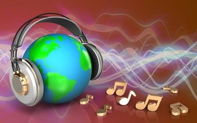 3d blank earth in headphones