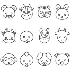 Cute cartoon Chinese zodiac line icon, face of rat, cow, tiger, rabbit, dragon, snake, horse, goat, monkey, rooster, dog and pig
