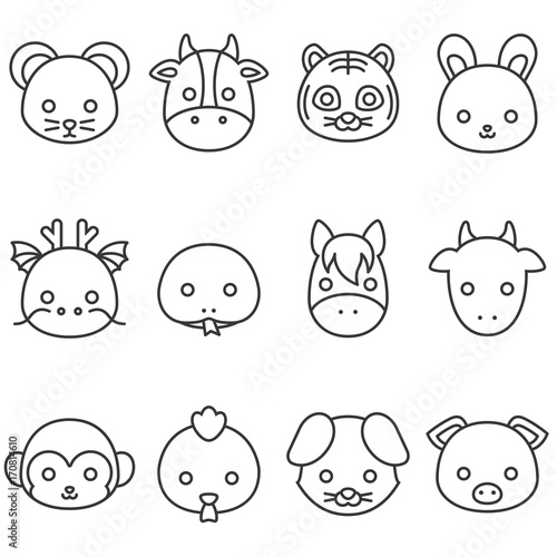 Cute cartoon Chinese zodiac line icon, face of rat, cow, tiger