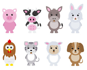 set farm animals isolated with white background