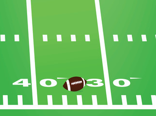 Football field and ball. vector illustration