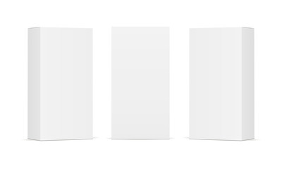Set of blank white product packaging boxes isolated. Three rectangular templates in different positions for design or branding. Vector illustration