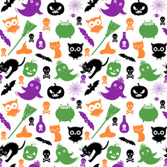 Cute and fun vector seamless pattern with silhouettes in black, green, orange and purple colors for Halloween designs and backgrounds
