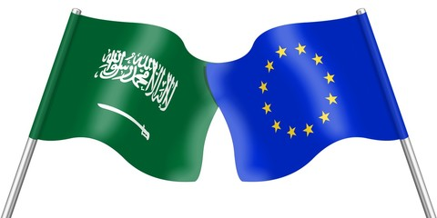Flags. Saudi Arabia and Europe